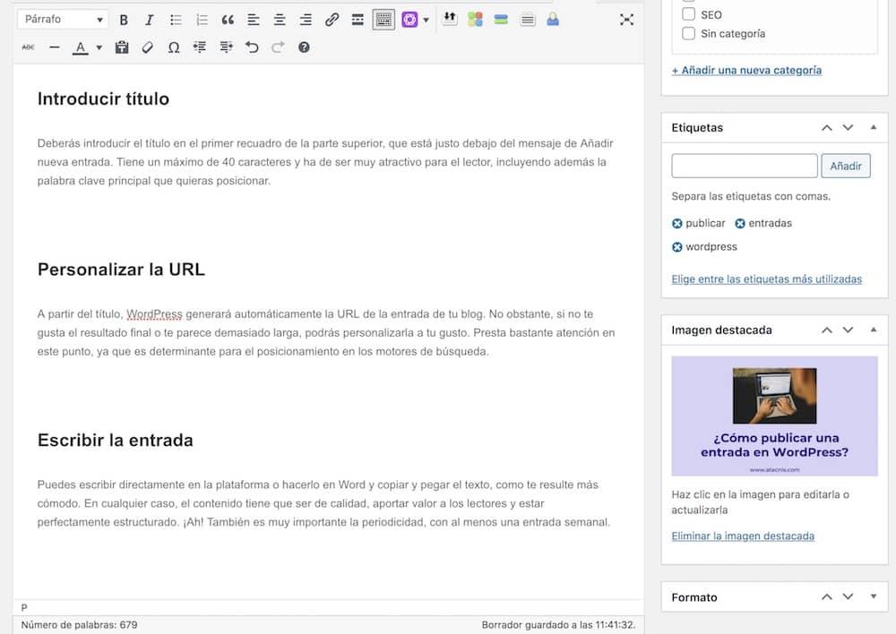 cómo publicar una entrada en wordpress-2